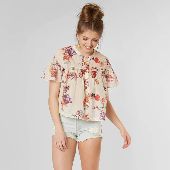 Free People Tops - Free People Sweet Escape Floral Blouse Ivory Combo